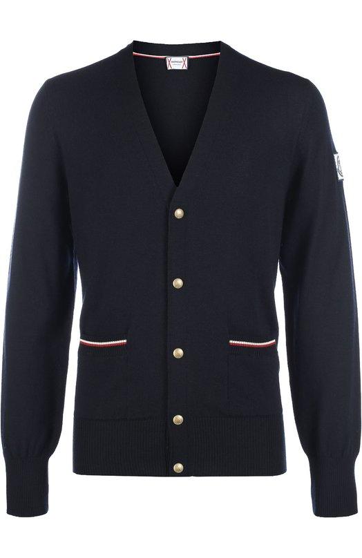 Шерстяной кардиган на кнопках с V-образным вырезом Moncler B2-391-94019-00-98262