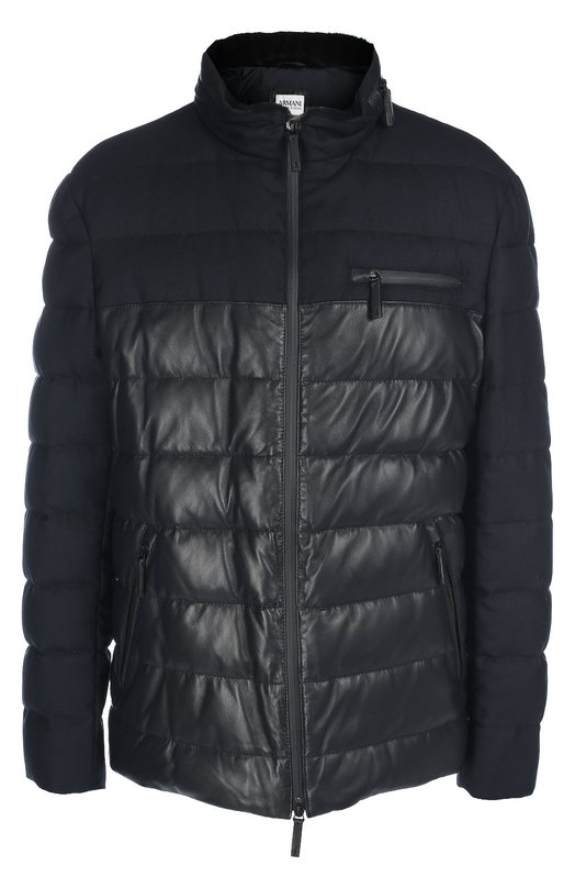 Пуховик с отделкой из кожи Armani CollezioniКуртки<br>Темно-синяя стеганая куртка с тремя карманами сшита из комбинации матовой мягкой кожи и плотного шерстяного текстиля с влагоотталкивающей пропиткой. В воротник-стойку прячется тонкий капюшон. Модель, утепленная отборным пухом, вошла в осенне-зимнюю коллекцию 2016 года.<br><br>Российский размер RU: 58<br>Пол: Мужской<br>Возраст: Взрослый<br>Размер производителя vendor: 58-R<br>Материал: Пух: 80%; Перо: 20%; Воротник/мех натуральный/: 100%; Кожа натуральная: 100%; Шерсть: 100%; Подкладка-полиэстер: 100%;<br>Цвет: Темно-синий