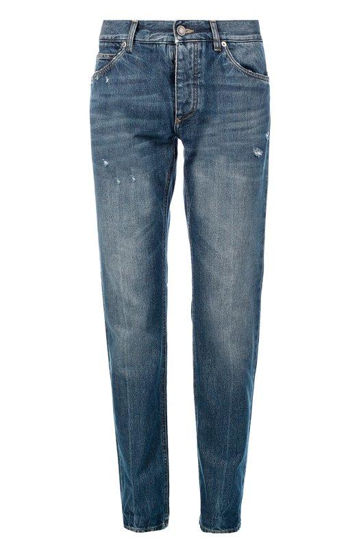 Джинсы прямого кроя с потертостями и вышивкой Dolce & Gabbana 0101/G6SSCZ/G8S92