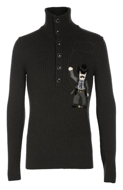 Шерстяной свитер с аппликацией и воротником на пуговицах Dolce & Gabbana 0101/GP411K/F69CG