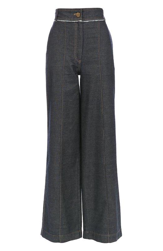 Широкие джинсы с завышенной талией и контрастной прострочкой LanvinДжинсы<br>Широкие джинсы из плотного синего хлопка прошиты желтой нитью. Модель с двумя боковыми прорезными карманами вошла в осенне-зимнюю коллекцию 2016 года. Широкий пояс с намеренно необработанным краем застегивается на металлический болт с гравировкой, изображающей Жанну Ланван с дочерью.<br><br>Российский размер RU: 44<br>Пол: Женский<br>Возраст: Взрослый<br>Размер производителя vendor: 38<br>Материал: Хлопок: 100%;<br>Цвет: Синий