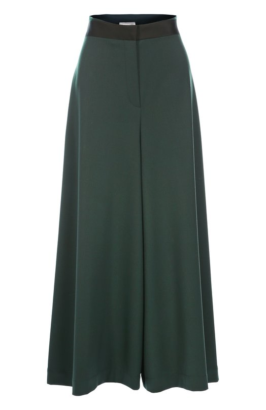 Укороченные широкие брюки с завышенной талией LanvinБрюки<br>Для создания кюлотов темно-зеленого цвета мастера марки, основанной Жанной Ланван, использовали мягкий шерстяной креп. Укороченные брюки-юбка из осенне-зимней коллекции 2016 года дополнены черным поясом из мягкого шелка с матовым блеском.<br><br>Российский размер RU: 42<br>Пол: Женский<br>Возраст: Взрослый<br>Размер производителя vendor: 36<br>Материал: Шерсть: 95%; Полиамид: 5%; Отделка-шелк: 100%;<br>Цвет: Темно-зеленый