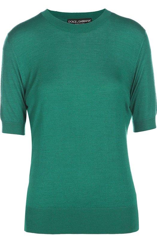 Кашемировый пуловер с круглым вырезом и коротким рукавом Dolce &amp; GabbanaСвитеры<br>Для создания пуловера зеленого цвета использован мягкий кашемир с добавлением шелка. Доменико Дольче и Стефано Габбана включили модель с коротким рукавом и круглым вырезом в осенне-зимнюю коллекцию 2016 года. Нам нравится сочетать с миди-юбкой, туфлями и сумкой черного цвета.<br><br>Российский размер RU: 46<br>Пол: Женский<br>Возраст: Взрослый<br>Размер производителя vendor: 44<br>Материал: Кашемир: 70%; Шелк: 30%;<br>Цвет: Зеленый