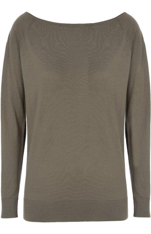 Шерстяной пуловер с вырезом-лодочка TheoryСвитеры<br>Трикотажный пуловер с широким вырезом бато и длинными рукавами вошел в коллекцию сезона осень-зима 2016 года. Для создания модели цвета хаки использована мягкая шерсть мериноса, не вызывающая аллергию. Рекомендуем сочетать с черными джинсами и коричневыми полусапогами.<br><br>Российский размер RU: 42<br>Пол: Женский<br>Возраст: Взрослый<br>Размер производителя vendor: S<br>Материал: Шерсть меринос: 100%;<br>Цвет: Хаки