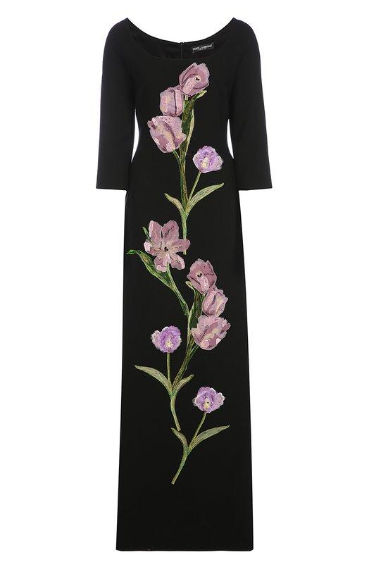 Платье в пол с укороченным рукавом и цветочной отделкой Dolce &amp; GabbanaПлатья<br>Доменико Дольче и Стефано Габбана украсили длинное вечернее платье черного цвета вышивкой в виде сиреневых тюльпанов. Этот мотив стал одним из основных в осенне-зимней коллекции 2016 года. Модель с рукавом 3/4 и круглым вырезом сшита из мягкого шерстяного крепа.<br><br>Российский размер RU: 48<br>Пол: Женский<br>Возраст: Взрослый<br>Размер производителя vendor: 46<br>Материал: Шерсть: 99%; Подкладка-шелк: 94%; Подкладка-эластан: 6%; Отделка-шелк: 50%; Отделка-полиэстер: 50%; Эластан: 1%;<br>Цвет: Черный