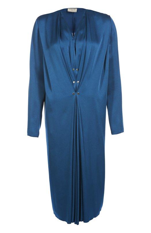Платье прямого кроя с V-образным вырезом и длинным рукавом LanvinПлатья<br>Ярко-синее платье из плотного крепа вошло в осенне-зимнюю коллекцию 2016 года. Дизайнеры марки, основанной Жанной Ланван, декорировали модель с глубоким V-образным вырезом и длинными рукавами драпировкой, созданной за счет металлических заклепок.<br><br>Российский размер RU: 42<br>Пол: Женский<br>Возраст: Взрослый<br>Размер производителя vendor: 36<br>Материал: Вискоза: 58%; Ацетат: 42%;<br>Цвет: Синий