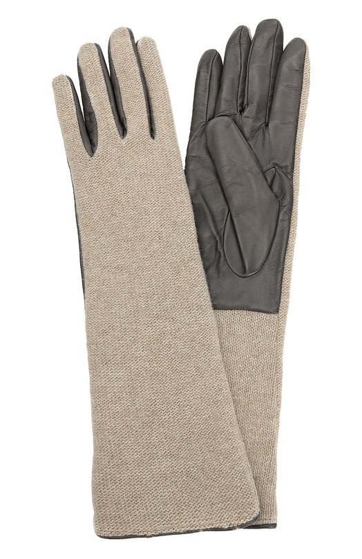 Кожаные перчатки с отделкой из вязаного полотна Sermoneta GlovesПерчатки<br>Для создания перчаток серого цвета использована мягкая шерстяная пряжа и гладкая матовая кожа, окрашенная в несколько этапов, включающих промывание и нанесение стойкой краски. Удлиненный аксессуар из осенне-зимней коллекции 2016 года дополнен подкладкой из нежного кашемира.<br><br>Российский размер RU: 7<br>Пол: Женский<br>Возраст: Взрослый<br>Размер производителя vendor: 7<br>Материал: Кожа натуральная: 100%; Шерсть: 100%; Подкладка-кашемир: 100%;<br>Цвет: Серый