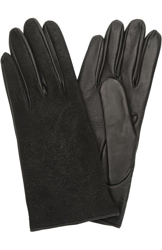 Перчатки из комбинированной кожи Sermoneta GlovesПерчатки<br><br><br>Российский размер RU: 7<br>Пол: Женский<br>Возраст: Взрослый<br>Размер производителя vendor: 7-5<br>Материал: Кожа натуральная: 100%;<br>Цвет: Черный