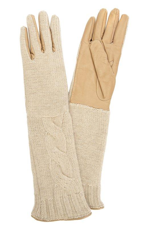 Удлиненные кожаные перчатки с отделкой из вязаного полотна Sermoneta Gloves SG08/L838/NAPPA