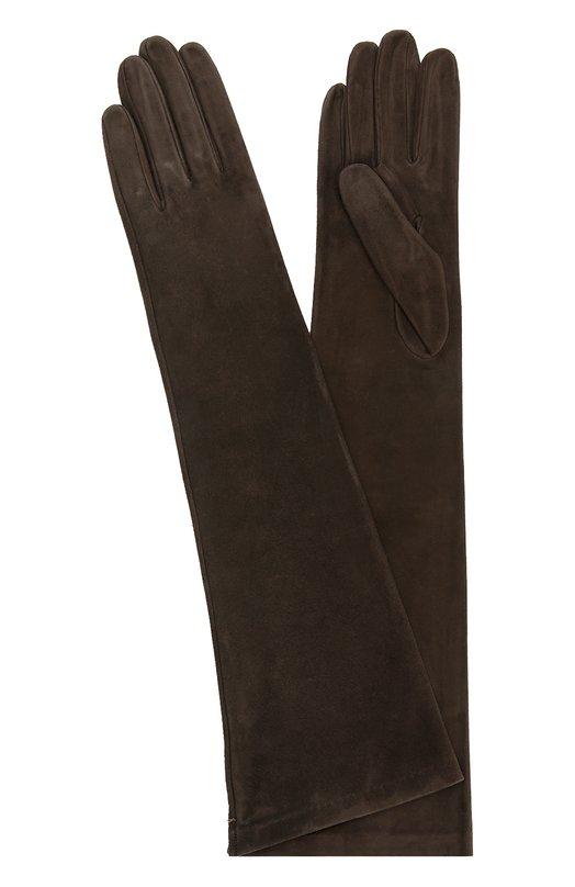 Удлиненные замшевые перчатки Sermoneta GlovesПерчатки<br><br><br>Российский размер RU: 7<br>Пол: Женский<br>Возраст: Взрослый<br>Размер производителя vendor: 7<br>Материал: Подкладка-шелк: 100%; Замша натуральная: 100%;<br>Цвет: Темно-коричневый