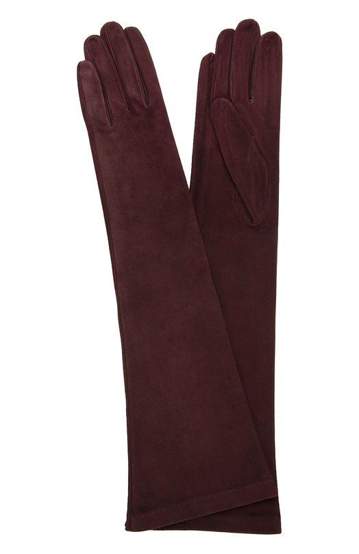 Удлиненные замшевые перчатки Sermoneta GlovesПерчатки<br>В осенне-зимнюю коллекцию 2016 года вошли длинные бордовые перчатки на шелковой подкладке. Аксессуар выполнен мастерами бренда вручную из ультратонкой замши. Материал предварительно прошел несколько этапов обработки для придания особой мягкости и эластичности.<br><br>Российский размер RU: 6<br>Пол: Женский<br>Возраст: Взрослый<br>Размер производителя vendor: 6-5<br>Материал: Подкладка-шелк: 100%; Замша натуральная: 100%;<br>Цвет: Бордовый
