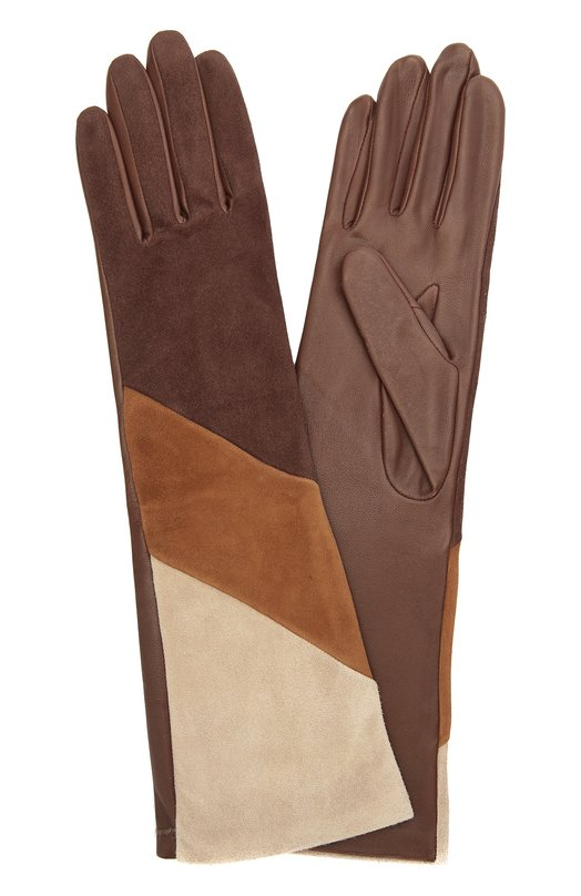 Удлиненные кожаные перчатки с отделкой из замши AgnelleПерчатки<br>Длинные перчатки с тонкой шелковой подкладкой вошли в коллекцию сезона осень-зима 2016 года. Лицевая сторона аксессуара выполнена в технике color block из фактурной бархатистой замши двух разных оттенков коричневого цвета, тыльная — из однотонной эластичной кожи.<br><br>Российский размер RU: 7<br>Пол: Женский<br>Возраст: Взрослый<br>Размер производителя vendor: 7-5<br>Материал: Кожа натуральная: 60%; Замша натуральная: 40%; Подкладка-шелк: 100%;<br>Цвет: Коричневый