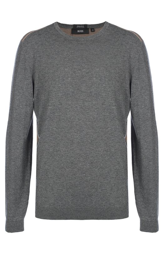 Джемпер с круглым вырезом из смеси шерсти и хлопка BOSSСвитеры<br>Двухцветный облегающий пуловер Bocci с круглой горловиной и контрастной спинкой вошел в осенне-зимнюю коллекцию 2016 года. Модель с длинными рукавами связана из ультратонкой мягкой пряжи на основе хлопка и шерсти Virgin.<br><br>Российский размер RU: 52<br>Пол: Мужской<br>Возраст: Взрослый<br>Размер производителя vendor: XL<br>Материал: Шерсть: 50%; Хлопок: 50%;<br>Цвет: Серый
