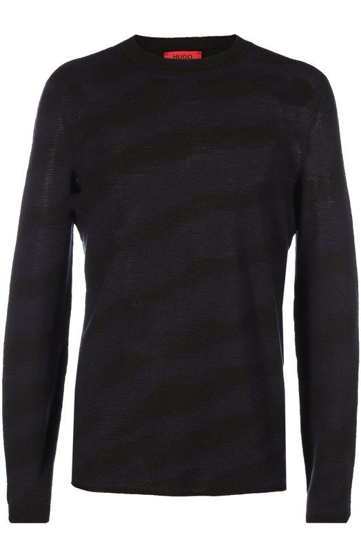 Джемпер Savo из шерсти тонкой вязки HUGOСвитеры<br>Мастера бренда, основанного Хуго Фердинандом Боссом, связали синий джемпер с круглым вырезом из тонкой гладкой шерсти. Модель с едва заметными черными волосами вошла в коллекцию сезона осень-зима 2016 года. Советуем сочетать с темными джинсами и курткой, а также коричневыми челси.<br><br>Российский размер RU: 50<br>Пол: Мужской<br>Возраст: Взрослый<br>Размер производителя vendor: L<br>Материал: Шерсть: 100%;<br>Цвет: Темно-синий