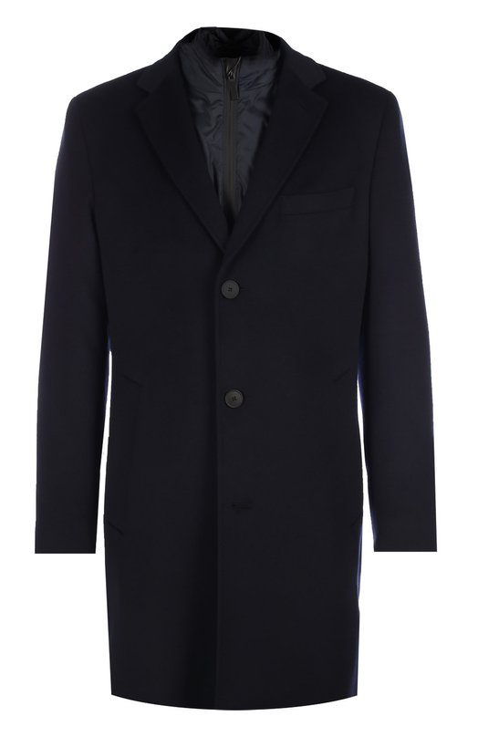 Пальто из смеси шерсти и кашемира с подстежкой BOSSПальто и плащи<br>Темно-синее однобортное пальто из плотной мягкой шерсти с добавлением кашемира вошло в осенне-зимнюю коллекцию бренда, основанного Хуго Фердинандом Боссом. Съемная подстежка имитирует ветровку, надетую под пальто.<br><br>Российский размер RU: 50<br>Пол: Мужской<br>Возраст: Взрослый<br>Размер производителя vendor: 50<br>Материал: Шерсть: 85%; Кашемир: 15%;<br>Цвет: Темно-синий