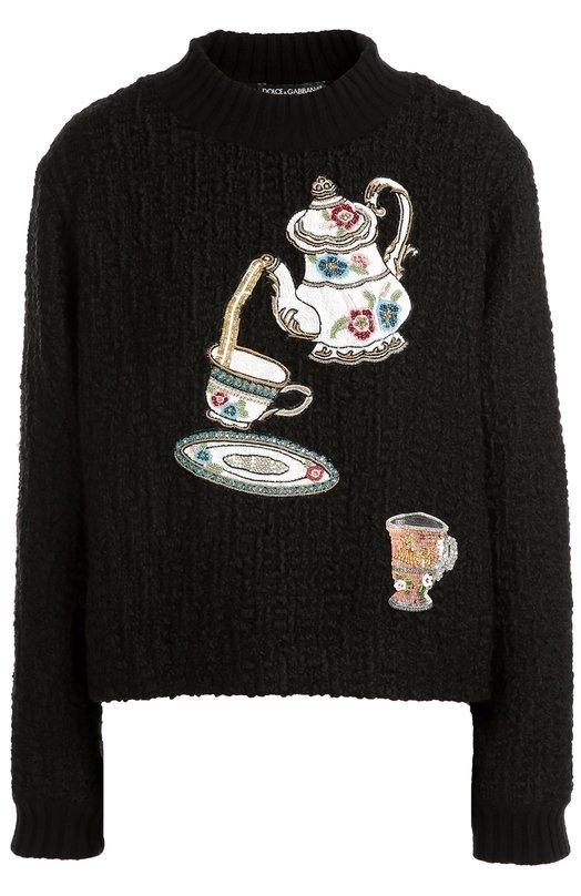 Пуловер фактурной вязки с вышивкой пайетками Dolce &amp; GabbanaСвитеры<br>Доменико Дольче и Стефано Габбана украсили черный свитер разноцветной вышивкой пайетками, латунными нитями и кристаллами, выполненной в виде чайника и чашек. Модель с длинными рукавами и круглым вырезом, связанная из мягкой шерсти с добавлением кашемира, вошла в осенне-зимнюю коллекцию 2016 года.<br><br>Российский размер RU: 40<br>Пол: Женский<br>Возраст: Взрослый<br>Размер производителя vendor: 38<br>Материал: Шерсть: 80%; Отделка-полиэстер: 50%; Отделка-латунь: 5%; Отделка-стекло: 45%; Кашемир: 20%; Подкладка-шерсть: 100%;<br>Цвет: Черный