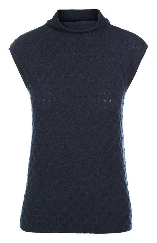 Кашемировый топ фактурной вязки с высоким воротником Armani CollezioniТопы<br>Джорджио Армани включил в осенне-зимнюю коллекцию 2016 года топ с фактурным вязаным узором в виде ромбов. Модель без рукавов, в мягким воротником-стойкой выполнена из мягкой кашемировой пряжи темно-синего цвета. Рекомендуем сочетать с белой блузой, черными брюками и ботинками.<br><br>Российский размер RU: 42<br>Пол: Женский<br>Возраст: Взрослый<br>Размер производителя vendor: 40<br>Материал: Кашемир: 100%;<br>Цвет: Темно-синий