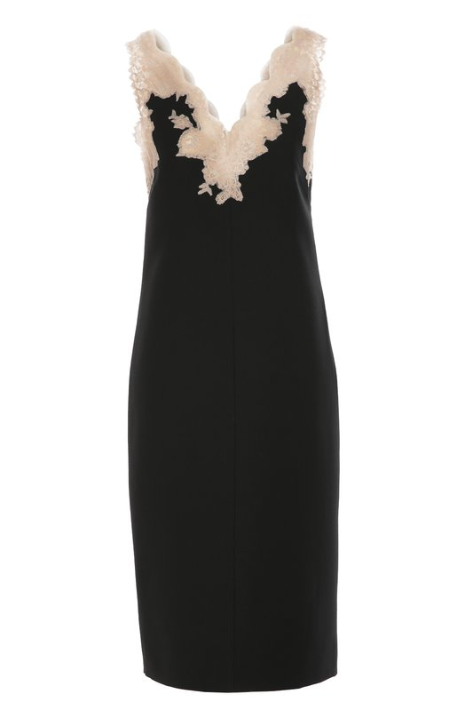 Платье прямого кроя с кружевной отделкой ValentinoПлатья<br>Черное платье-комбинация с V-образным вырезом, украшенным тонким кружевом телесного цвета, вошло в осенне-зимнюю коллекцию марки, основанной Валентино Гаравани. Для создания модели прямого кроя использована мягкая ткань Crepe Couture из шерсти и шелка. Советуем носить с водолазкой и туфлями в тон.<br><br>Российский размер RU: 44<br>Пол: Женский<br>Возраст: Взрослый<br>Размер производителя vendor: 42<br>Материал: Отделка-полиэстер: 9%; Отделка-полиамид: 67%; Шерсть: 65%; Шелк: 35%; Отделка-вискоза: 23%; Подкладка-полиамид: 100%; Отделка-мохер: 1%;<br>Цвет: Черный