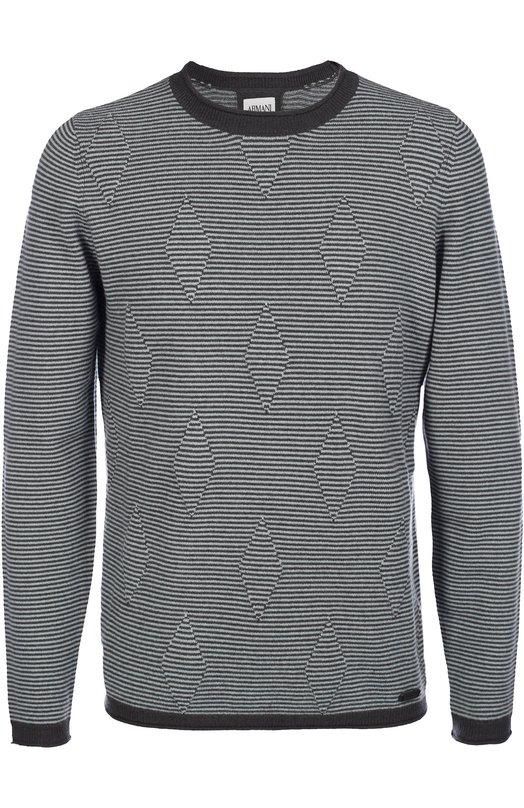 Кашемировый джемпер тонкой вязки Armani CollezioniСвитеры<br>Темно-серый пуловер в белую тонкую полоску вошел в коллекцию сезона осень-зима 2016 года. Джорджио Армани выбрал для создания модели с длинными рукавами и круглым вырезом мягкую пряжу из тонкого кашемира. Перед украшен полосатым 3D узором в виде ромбов.<br><br>Российский размер RU: 54<br>Пол: Мужской<br>Возраст: Взрослый<br>Размер производителя vendor: 52<br>Материал: Кашемир: 100%;<br>Цвет: Серый