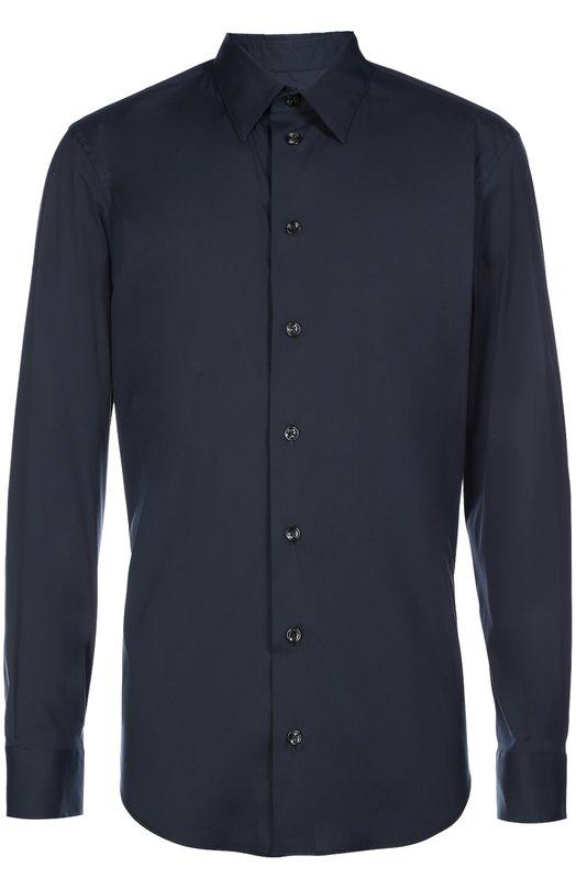 Рубашка из эластичного хлопка с воротником кент Armani CollezioniРубашки<br><br><br>Российский размер RU: 50<br>Пол: Мужской<br>Возраст: Взрослый<br>Размер производителя vendor: L<br>Материал: Хлопок: 76%; Эластан: 3%; Полиамид: 21%;<br>Цвет: Темно-синий