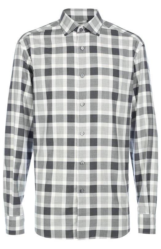 Хлопковая рубашка в клетку Ermenegildo Zegna ULX31SRF1