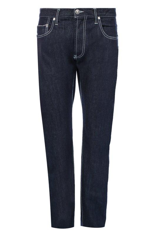 Джинсы прямого кроя с контрастной отстрочкой Armani CollezioniДжинсы<br>Джорджо Армани включил в коллекцию сезона осень-зима 2016 года прямые джинсы из прочного хлопка с добавлением волокон эластана. Темно-синяя модель прошита контрастной светлой нитью. Пояс дополнен шлевками для широкого ремня.<br><br>Российский размер RU: 56<br>Пол: Мужской<br>Возраст: Взрослый<br>Размер производителя vendor: 38<br>Материал: Хлопок: 98%; Эластан: 2%;<br>Цвет: Темно-синий
