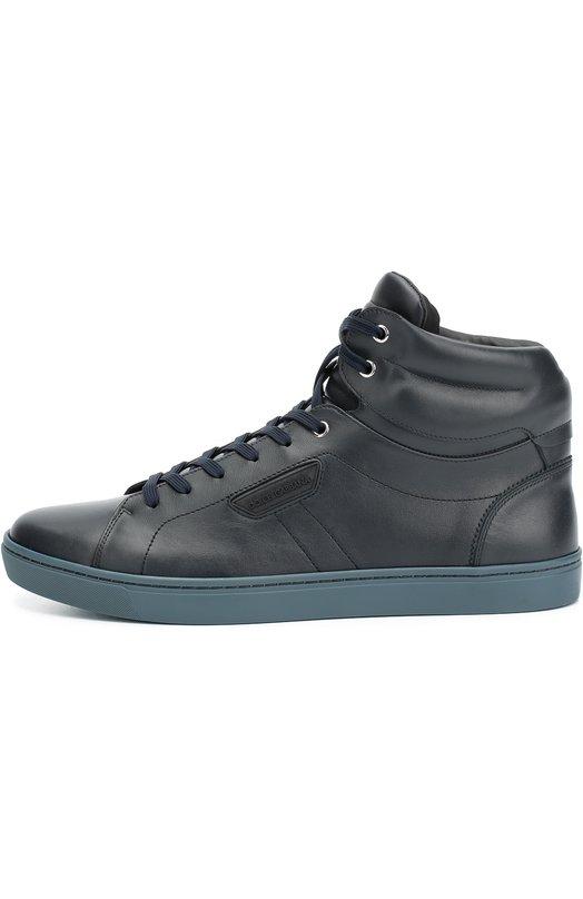 Купить Высокие кожаные кеды London на шнуровке Dolce & Gabbana, 0111/CS1402/A3444, Италия, Темно-синий, Кожа натуральная: 100%; Стелька-кожа: 100%; Подошва-резина: 100%;