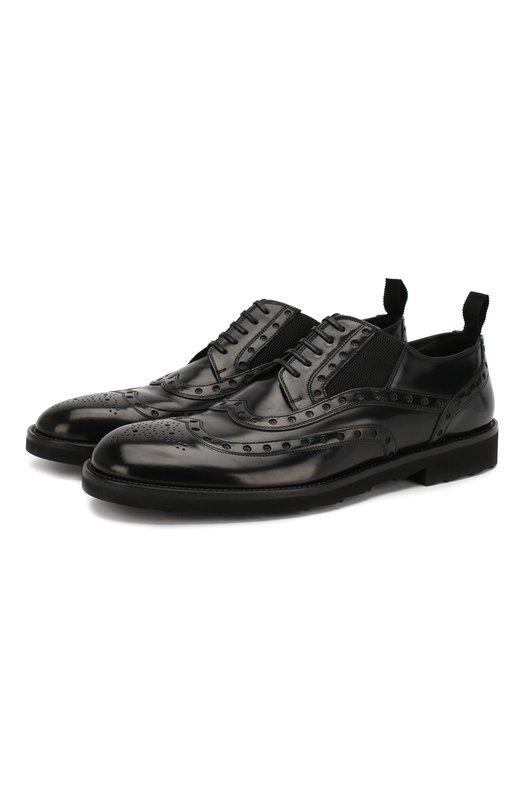 Кожаные броги Milano Dolce &amp; GabbanaТуфли<br>Для создания брогов Milano использована черная глянцевая кожа. Доменико Дольче и Стефано Габбана включили модель на невысоком каблуке в осенне-зимнюю коллекцию 2016 года. Эластичные боковые вставки регулируют изделие по полноте. Благодаря им обувь удобно надевать и снимать, не используя шнуровку.<br><br>Российский размер RU: 41<br>Пол: Мужской<br>Возраст: Взрослый<br>Размер производителя vendor: 41<br>Материал: Кожа натуральная: 100%; Стелька-кожа: 100%; Подошва-резина: 100%;<br>Цвет: Черный