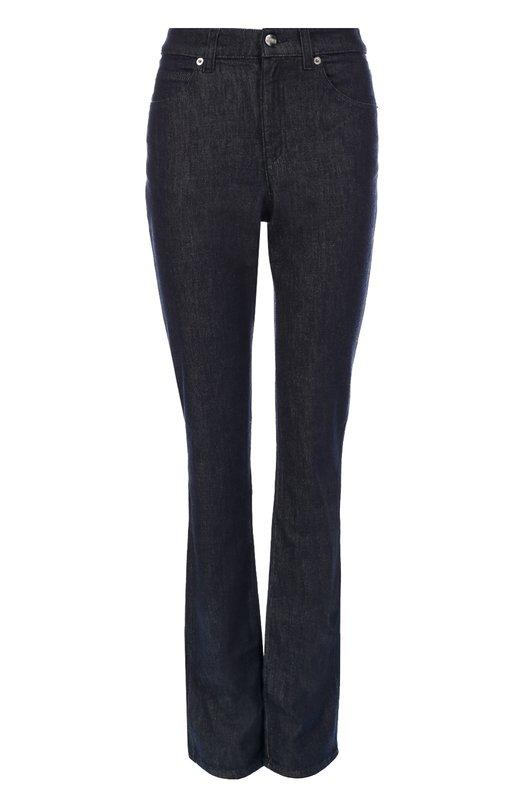 Расклешенные джинсы с завышенной талией Armani CollezioniДжинсы<br>Темно-синие джинсы с классической посадкой вошли в коллекцию сезона осень-зима 2016 года. Для пошива модели boot-cut Джорджио Армани выбрал плотный эластичный материал на основе хлопка с добавлением шерсти. Советуем сочетать с синим свитером, серой сумкой, черными ботильонами.<br><br>Российский размер RU: 48<br>Пол: Женский<br>Возраст: Взрослый<br>Размер производителя vendor: 30<br>Материал: Хлопок: 89%; Шерсть: 10%; Эластан: 1%;<br>Цвет: Темно-синий