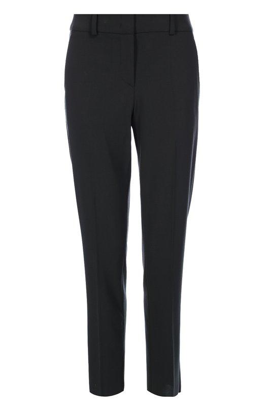 Шерстяные брюки прямого кроя со стрелками и карманами Armani CollezioniБрюки<br>Укороченные фланелевые брюки серого цвета дополнены двумя боковыми и двумя задними карманами. Джорджио Армани включил модель со стрелками в осенне-зимнюю коллекцию 2016 года. Рекомендуем сочетать с черным топом, сумкой и ботинками.<br><br>Российский размер RU: 44<br>Пол: Женский<br>Возраст: Взрослый<br>Размер производителя vendor: 42<br>Материал: Шерсть: 96%; Эластан: 4%;<br>Цвет: Серый