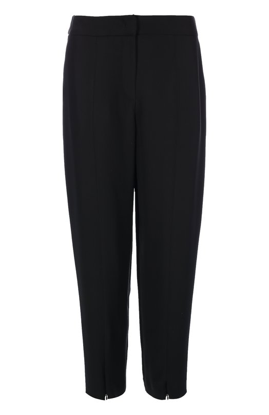 Широкие брюки прямого кроя с декоративными молниями Armani CollezioniБрюки<br>Для создания укороченных черных брюк Джорджио Армани выбрал мягкий материал с добавлением нежного шелка. Модель прямого кроя вошла в коллекцию сезона осень-зима 2016 года. В боковые швы штанин вшиты короткие молнии. Нам нравится носить с жакетом, сумкой и ботинками в тон.<br><br>Российский размер RU: 48<br>Пол: Женский<br>Возраст: Взрослый<br>Размер производителя vendor: 46<br>Материал: Ацетат: 72%; Шелк: 28%;<br>Цвет: Черный
