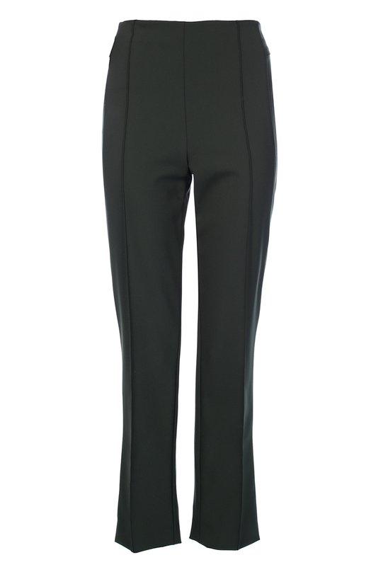 Укороченные брюки прямого кроя с завышенной талией EscadaБрюки<br>Темно-зеленые прямые брюки с классической посадкой вошли в коллекцию сезона осень-зима 2016 года. Укороченная модель из плотного эластичного материала украшена объемными швами вместо стрелок. Нам нравится сочетать с кардиганом и сумкой в тон, светлой шубой и темными ботильонами.<br><br>Российский размер RU: 46<br>Пол: Женский<br>Возраст: Взрослый<br>Размер производителя vendor: 38<br>Материал: Полиамид: 88%; Эластан: 12%;<br>Цвет: Темно-зеленый