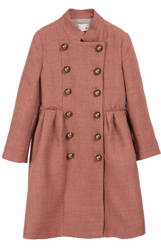 Двубортное пальто с крупными пуговицами LanvinВерхняя одежда<br>Розовое двубортное пальто с длинными рукавами и воротником-стойкой выполнено из фактурной полушерстяной ткани. Подол со складками сзади пришит швом наружу, который визуально делает акцент на талии. Модель, застегивающаяся на пуговицы цвета бронзы, вошла в коллекцию сезона осень-зима 2016 года.<br><br>Размер Years: 12<br>Пол: Женский<br>Возраст: Детский<br>Размер производителя vendor: 146-152cm<br>Материал: Подкладка-акрил: 64%; Шерсть: 50%; Подкладка-купра: 36%; Полиэстер: 30%; Хлопок: 20%;<br>Цвет: Розовый