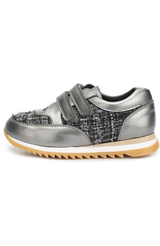 Кожаные кроссовки с текстильной вставкой ClarysСпортивная обувь<br>Серые кроссовки на легкой рифленой подошве вошли в коллекцию сезона осень-зима 2016 года. Модель выполнена из комбинации гладкой лакированной кожи и мягкого фактурного материала. Два ремешка с застежкой велькро фиксируют обувь на подъеме.<br><br>Российский размер RU: 24<br>Пол: Женский<br>Возраст: Детский<br>Размер производителя vendor: 24<br>Материал: Кожа натуральная: 100%; Стелька-кожа: 100%; Подошва-резина: 100%; Текстиль: 100%;<br>Цвет: Серый
