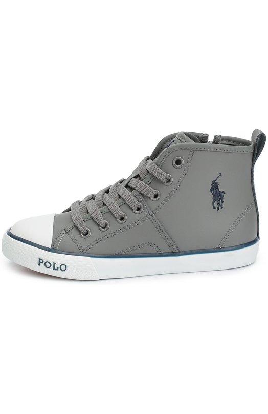 Высокие кожаные кеды с нашивкой Polo Ralph LaurenСпортивная обувь<br>Ральф Лорен включил высокие серые кеды в коллекцию сезона осень-зима 2016 года. Модель выполнена из гладкой матовой кожи. Обувь декорирована вышитой эмблемой марки. Помимо шнуровки, изделие дополнено боковой молнией.<br><br>Российский размер RU: 30<br>Пол: Мужской<br>Возраст: Детский<br>Размер производителя vendor: 30<br>Материал: Кожа натуральная: 100%; Подошва-резина: 100%; Стелька-текстиль: 100%;<br>Цвет: Серый