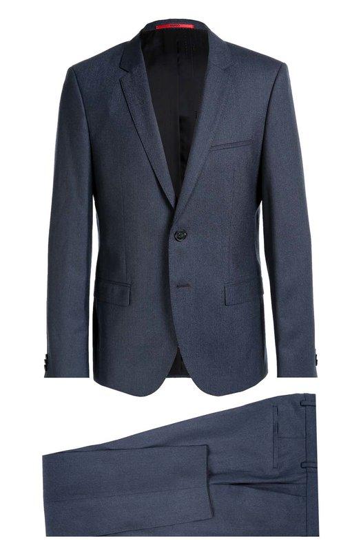 Шерстяной приталенный костюм HugoКостюмы<br><br><br>Российский размер RU: 44<br>Пол: Мужской<br>Возраст: Взрослый<br>Размер производителя vendor: 44<br>Материал: Шерсть: 100%;<br>Цвет: Синий
