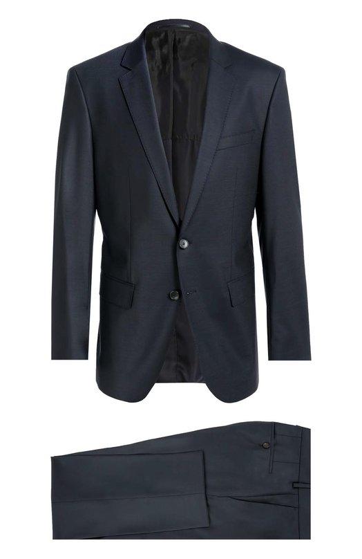 Шерстяной приталенный костюм-тройка BOSSКостюмы<br>Темно-синий костюм-тройка из тонкой шерсти вошел в коллекцию сезона осень-зима 2016 года. Однобортный приталенный пиджак с узкими лацканами дополнен жилетом и зауженными брюками со стрелками. Наши стилисты рекомендуют носить с голубой рубашкой, галстуком в тон и черными оксфордами.<br><br>Российский размер RU: 56<br>Пол: Мужской<br>Возраст: Взрослый<br>Размер производителя vendor: 56<br>Материал: Шерсть: 100%;<br>Цвет: Темно-синий