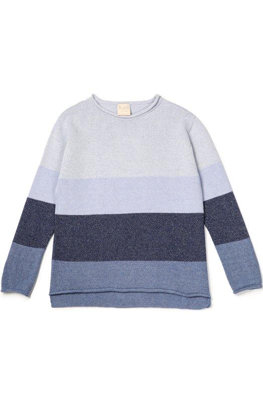 Пуловер джерси с принтом Kuxo CashmereСвитеры<br>Для создания пуловера удлиненной спинкой мастера марки использовали мягкую полушерсть с добавлением тонкого кашемира. Модель в широкую полоску разных оттенков синего вошла в коллекцию сезона осень-зима 2016 года.<br><br>Размер Years: 6<br>Пол: Женский<br>Возраст: Детский<br>Размер производителя vendor: 116-122cm<br>Материал: Шерсть: 42%; Вискоза: 30%; Полиамид: 18%; Кашемир: 10%;<br>Цвет: Синий