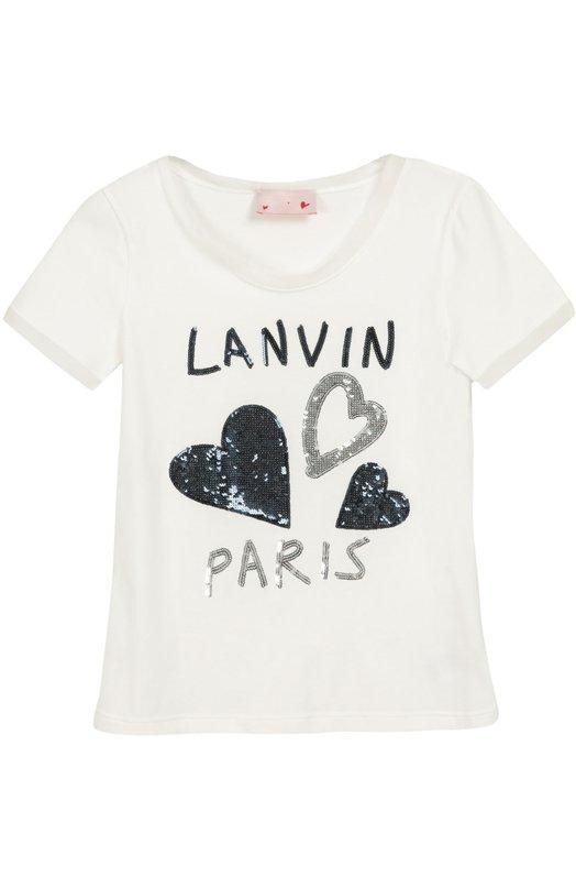 Хлопковая футболка с аппликацией Lanvin RG-T0011K-MJ01-A16/8-12