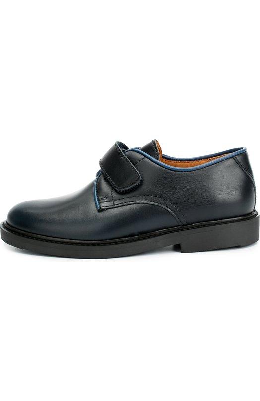 Кожаные туфли с застежкой велькро BeberlisТуфли<br>В коллекцию сезона осень-зима 2016 года вошли туфли на широкой подошве и квадратном каблуке. Для создания модели была использована гладкая матовая кожа синего цвета, для отделки — голубая. Обувь дополнена ортопедической стелькой и широким ремешком с застежкой велькро.<br><br>Российский размер RU: 32<br>Пол: Мужской<br>Возраст: Детский<br>Размер производителя vendor: 32<br>Материал: Кожа натуральная: 100%; Стелька-кожа: 100%; Подошва-резина: 100%;<br>Цвет: Синий