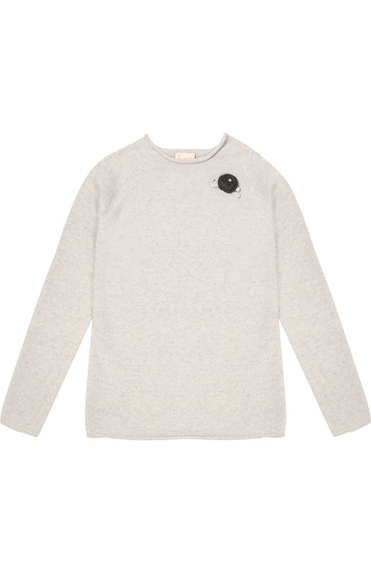 Шерсятной пуловер с декоративной отделкой Kuxo CashmereСвитеры<br>В осенне-зимнюю коллекцию 2016 года вошел светло-серый пуловер с круглым вырезом и длинным рукавом. Изделие произведено по бесшовной технологии из тонкой шерстяной пряжи. Модель украшена аппликацией в виде розы из мягкого войлока более темного оттенка.<br><br>Размер Years: 8<br>Пол: Женский<br>Возраст: Детский<br>Размер производителя vendor: 128-134cm<br>Материал: Шерсть: 42%; Вискоза: 30%; Полиамид: 18%; Кашемир: 10%;<br>Цвет: Светло-серый