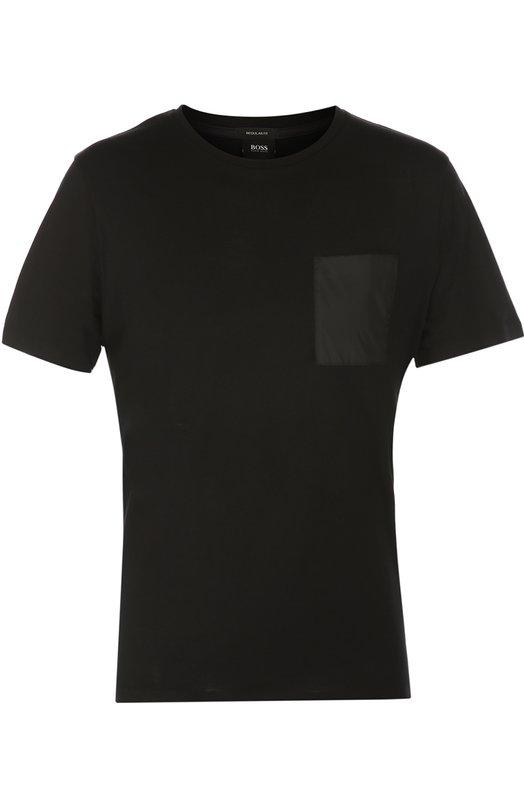 Хлопковая футболка с круглым вырезом и нагрудным карманом BOSSФутболки<br><br><br>Российский размер RU: 48<br>Пол: Мужской<br>Возраст: Взрослый<br>Размер производителя vendor: M<br>Цвет: Черный