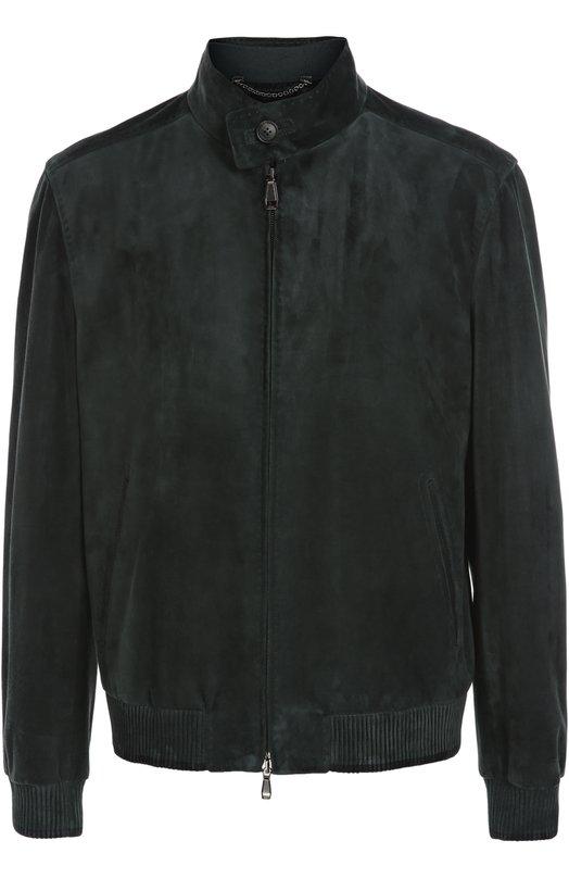 Замшевая куртка-бомбер с воротником-стойкой Brioni PLM1/P5711
