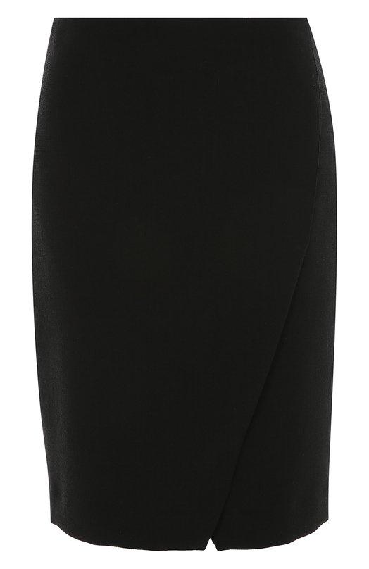 Облегающая мини-юбка с разрезом спереди Armani CollezioniЮбки<br>Короткая юбка с асимметричным запахом вошла в коллекцию сезона осень-зима 2016 года. Джорджио Армани выбрал для изготовления однотонной модели гладкий текстиль с добавлением эластичных волокон, поэтому одежда плотно облегает фигуру. Изделие застегивается сзади на потайную молнию.<br><br>Российский размер RU: 46<br>Пол: Женский<br>Возраст: Взрослый<br>Размер производителя vendor: 44<br>Материал: Полиэстер: 53%; Шерсть: 44%; Эластан: 3%;<br>Цвет: Черный