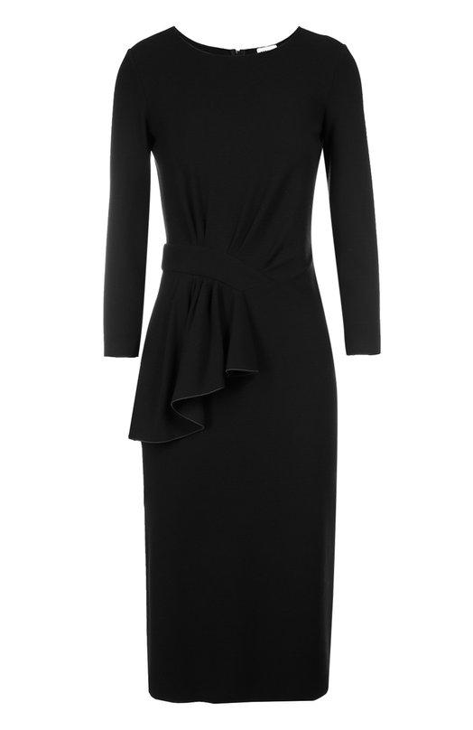 Облегающее платье с длинным рукавом и драпировкой Armani CollezioniПлатья<br>Мастера марки сшили платье с рукавом 3/4 из фактурной эластичной ткани черного цвета. Модель вошла в коллекцию сезона осень-зима 2016 года. Джорджио Армани декорировал изделие асимметричным воланом. Наши стилисты рекомендуют сочетать с туфлями и сумкой в тон.<br><br>Российский размер RU: 48<br>Пол: Женский<br>Возраст: Взрослый<br>Размер производителя vendor: 46<br>Материал: Вискоза: 69%; Эластан: 6%; Полиамид: 25%;<br>Цвет: Черный