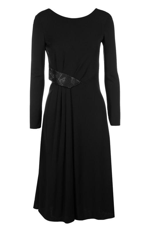 Приталенное платье с открытой спиной и длинным рукавом Armani CollezioniПлатья<br>Джорджио Армани включил платье с глубоким вырезом на спине в осенне-зимнюю коллекцию 2016 года. Мастера марки изготовили модель из струящейся эластичной ткани черного цвета. На талии - декоративная вставка, украшенная сверкающими стразами, которая создает мягкую драпировку.<br><br>Российский размер RU: 42<br>Пол: Женский<br>Возраст: Взрослый<br>Размер производителя vendor: 40<br>Материал: Вискоза: 95%; Полиамид: 5%;<br>Цвет: Черный