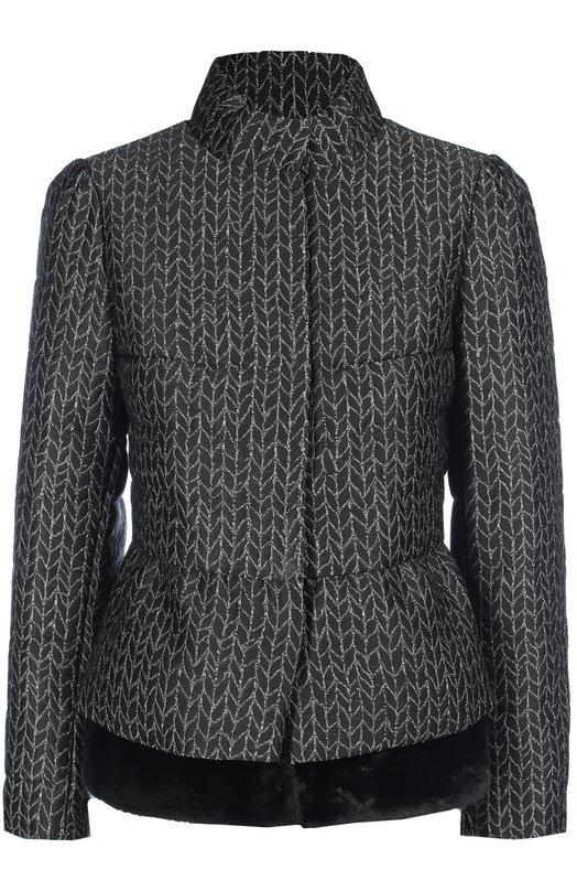 Укороченная куртка с баской и меховой отделкой Armani Collezioni UMB60T/UM742