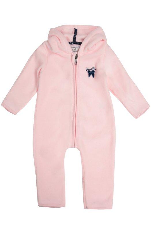 Комбинезон с капюшоном SanettaОдежда<br>Розовый комбинезон с цельнокроеными брюками, длинными рукавами и капюшоном сшит из мягкого флиса, хорошо сохраняющего тепло. Модель на молнии из осенне-зимней коллекции 2016 года украшена синими атласным бантом и вышивкой в виде логотипа марки.<br><br>Размер Months: 6<br>Пол: Женский<br>Возраст: Для малышей<br>Размер производителя vendor: 68-74cm<br>Материал: Полиэстер: 65%; Хлопок: 35%;<br>Цвет: Розовый