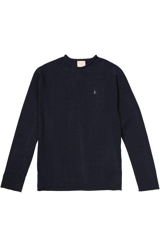 Пуловер прямого кроя с отделкой Kuxo CashmereСвитеры<br>В коллекцию сезона осень-зима 2016 года вошел пуловер прямого кроя, с длинными рукавами и круглым вырезом. Модель сшита из эластичного вискозного трикотажа по бесшовной технологии, исключающей натирание. Края намеренно не обработаны.<br><br>Размер Years: 12<br>Пол: Женский<br>Возраст: Детский<br>Размер производителя vendor: 146-152cm<br>Материал: Вискоза: 72%; Полиэстер: 28%;<br>Цвет: Синий