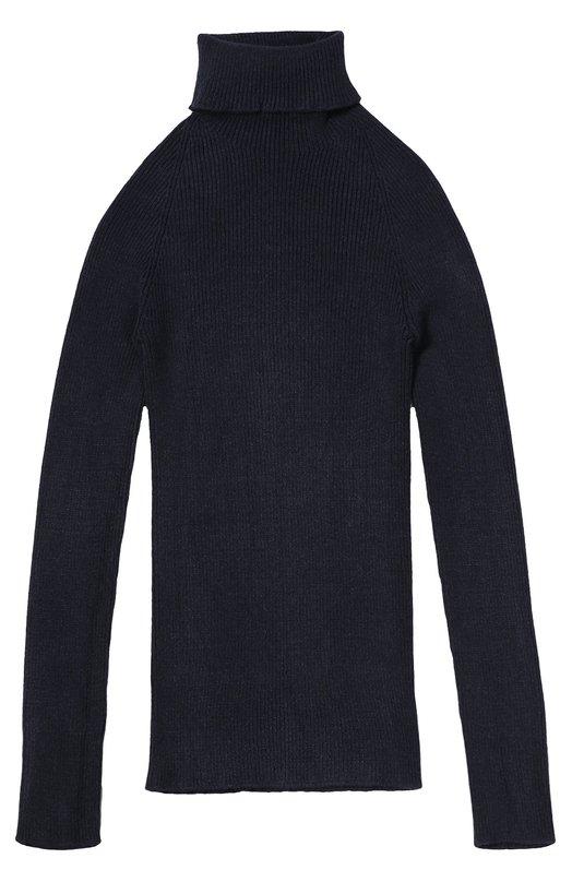 Пуловер фактурной вязки с высоким воротником Kuxo CashmereСвитеры<br>Облегающая синяя водолазка вошла в коллекцию сезона осень-зима 2016 года. Модель связана в технике английской резинки, что придает изделию особую эластичность.Для создания изделия была использована мягкая вискозная пряжа с добавлением волокон полиэстера, поэтому изделие не вытягивается на локтях.<br><br>Размер Years: 10<br>Пол: Женский<br>Возраст: Детский<br>Размер производителя vendor: 140-146cm<br>Материал: Вискоза: 72%; Полиэстер: 28%;<br>Цвет: Синий